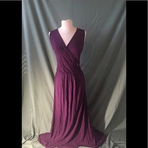Loveapella Plum Faux Wrap Maxi Dress